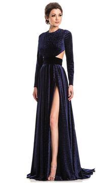 Johnathan Kayne 7219 Embossed Jewel Long Sleeves Evening Gown