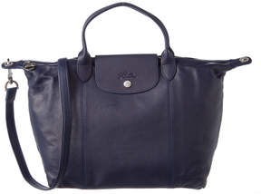 Longchamp Le Pliage Cuir Medium Leather Top Handle Tote - BLUE - STYLE