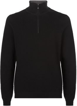 BOSS GREEN Textured Zip-Neck Jumper
