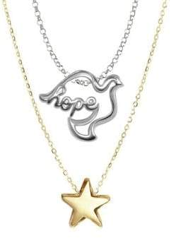 Alex Woo Sterling Silver Double Pendant Necklace