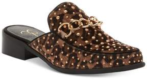 Jessica Simpson Womens BEEZ Studded Mules NATURAL LEOPARD PRINT