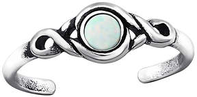 Celtic White Opal & Silver-Plated Scroll Adjustable Toe Ring