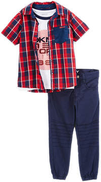 DKNY High Risk Red City View Button-Up Set - Infant, Toddler & Boys