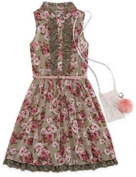 Knitworks Knit Works Floral Belted Sleeveless Shirt Dress - Girls' 7-16