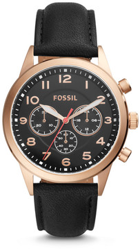 Fossil Flynn Pilot Chronograph Black Leather Watch