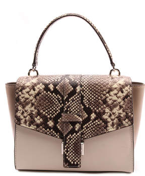 Michael Kors Natural & Ecru Snake-Embossed Mauve Leather Satchel - NATURAL - STYLE