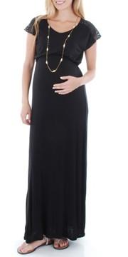 Everly Grey Women's Lace Yoke Maxi Maternity Dress