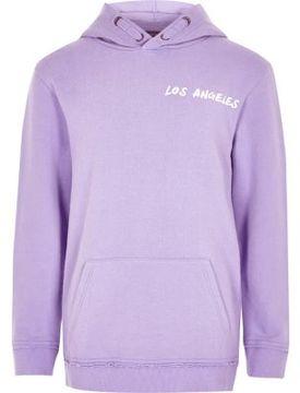 River Island Boys purple 'Los Angeles' print hoodie
