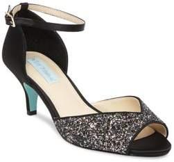 Betsey Johnson Rita Glittered Kitten Heel Pumps