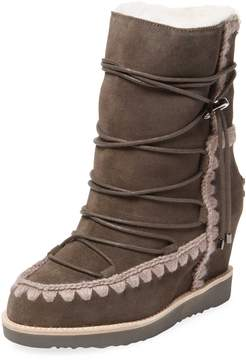 Mou Women's French Toe Suede Wedge Boot