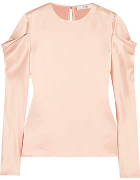 Tibi Draped Hammered-satin Top - Blush