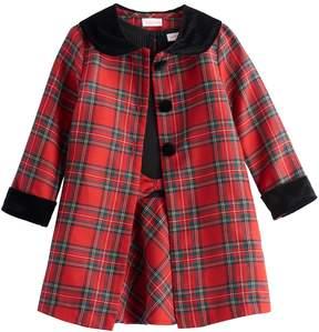 Youngland Toddler Girl Plaid Coat & Dress Set