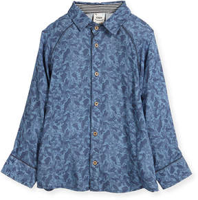 Neiman Marcus Fore Paisley Wave Printed Button-Down Shirt, Size 2-8