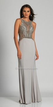 Dave and Johnny Plunging Low Back Beaded Column Prom Dress