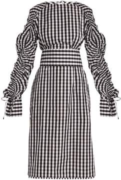 DAY Birger et Mikkelsen TEIJA Smocked-sleeve cotton-gingham dress