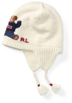 Polo Ralph Lauren Bear Merino Earflap Hat Cream 2-4