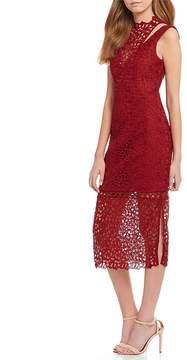 Keepsake Uplifted Mock Neck Lace Midi Dress