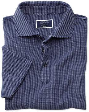 Charles Tyrwhitt Blue and White Birdseye Cotton Polo Size Small