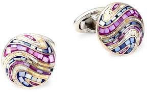 Jan Leslie Men's Sterling Silver and Multicolored Round Cufflinks