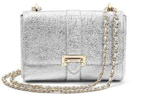 Aspinal of London Small Lottie Bag In Silver Python Print