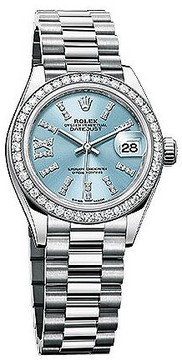 Rolex Lady-Datejust 28 Ice Blue Dial Platinum President Automatic Ladies Watch