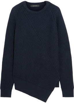 Cédric Charlier Asymmetric Ribbed Wool Sweater - Navy