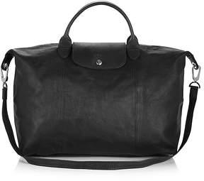 Longchamp Le Pliage Large Leather Satchel - BLACK/SILVER - STYLE