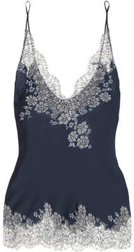 Carine Gilson Chantilly Lace-trimmed Silk-satin Camisole - Navy