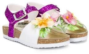 MonnaLisa Hibiscus glitter sandals
