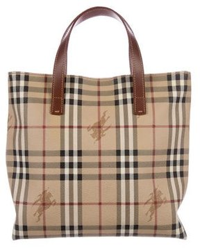 Burberry Small Haymarket Check Tote - BROWN - STYLE
