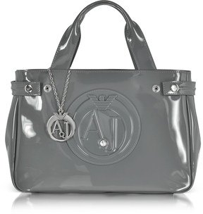 Armani Jeans Medium Gray Faux Patent Leather Tote Bag