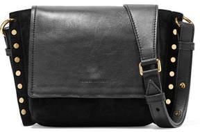 Isabel Marant Kleny Embellished Leather And Suede Shoulder Bag - Black