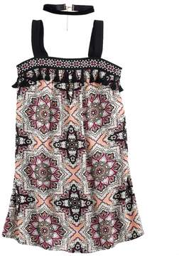 My Michelle Girls 7-16 Printed Tank Trapeze Dress with Choker Necklace
