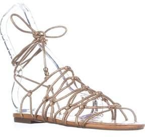 INC International Concepts I35 Gallena Flat Lace-up Sandals, Gold.