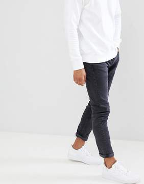 Pull&Bear Slim Jeans In Washed Black