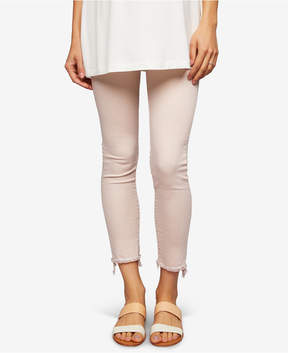 Articles of Society Maternity Pink Wash Cropped Frayed Skinny Jeans