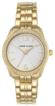 Anne Klein Crystal Bezel Goldtone Round White Dial Bracelet Watch