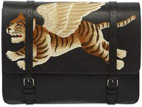 Gucci Tiger Embroidered Leather Briefcase