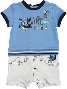 Little Marc Jacobs Printed Cotton Jersey Romper