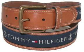Tommy Hilfiger Men's Leather Casual Belt with Fabric Inlay, 42, Tan with Navy Inlay