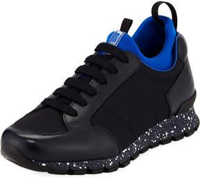 Prada Men's Speckled Nylon & Leather Trainer Sneakers
