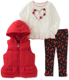 Kids Headquarters 3-Pc. Vest, T-Shirt & Denim Leggings Set, Little Girls (4-6X)