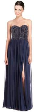David Meister Strapless Beaded Bodice Chiffon Gown.