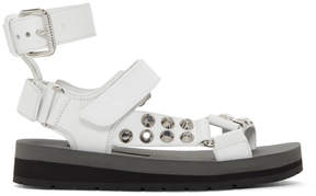 Prada White Studded Velcro Sandals