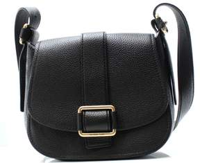 Michael Kors Black Pebble Leather Maxine Medium Saddle Crossbody - BLACKS - STYLE