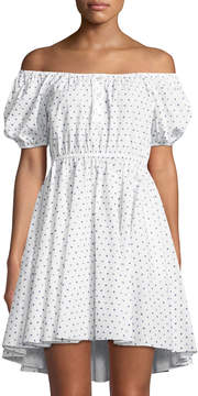 Caroline Constas Bardot Polka-Dot Puff-Sleeve Dress