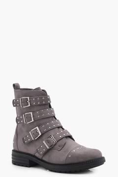 boohoo Studded Strap Biker Boots