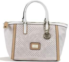 GUESS Women's Logo Remix SP452706 Uptown Satchel Cement Handbag