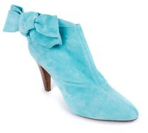 Roberto Cavalli Light Blue Suede Bow Ankle Boots.