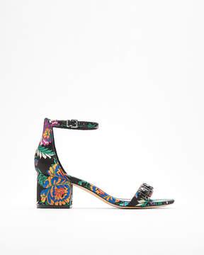 Express Brocade Low Block Heel Sandals